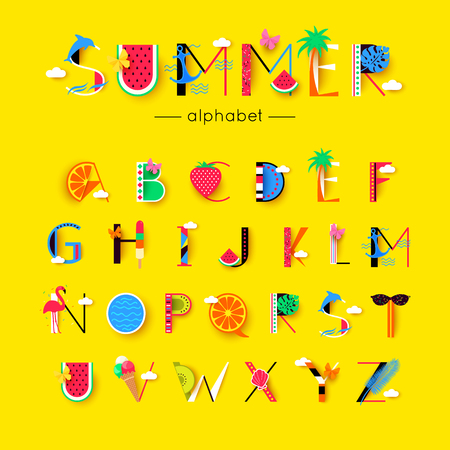 vector creative summer font and alphabet Иллюстрация
