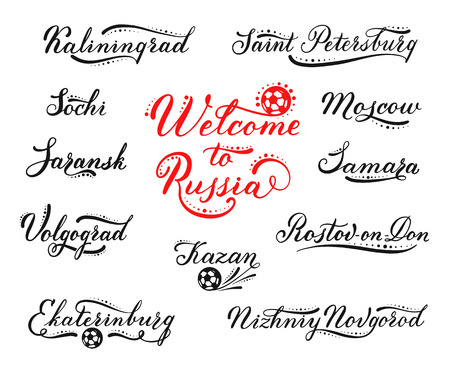 Welcome to Russia lettering design. Tourist cities for football fans Moscow, Sochi, Saint Petersburg, Kazan, Samara and other. Set of vector calligraphic logos for banners, printing on t-shirts.