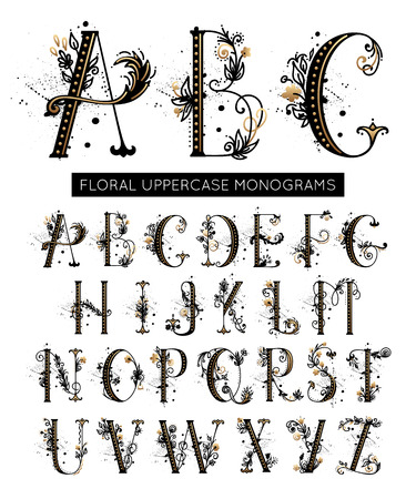 Alphabet. Hand drawn floral uppercase letters monograms or logo, design elements for wedding invitations. Vector font decorated flower and leaves.
