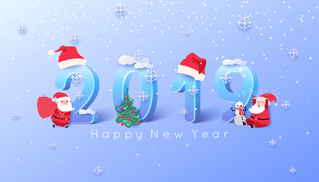 2019 Merry Christmas and Happy New Year background. Cheerful Santa Claus vector illustration.