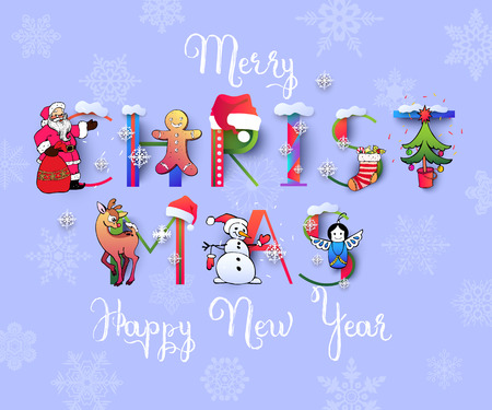 Merry Christmas and Happy New Year Illustration