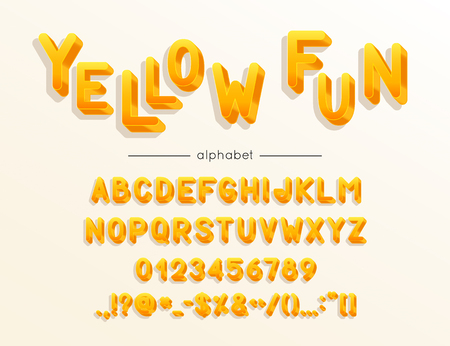 Yellow Fun font and alphabet. Type with colorful letters, numerals and symbols