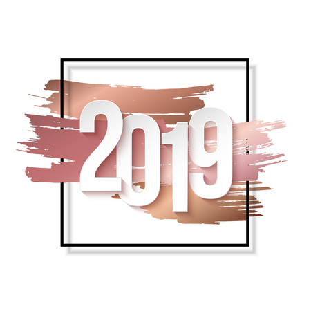 2019 Happy New Year Background for Flyers or Greeting Card Design. Numbers Papers Style. Ilustração