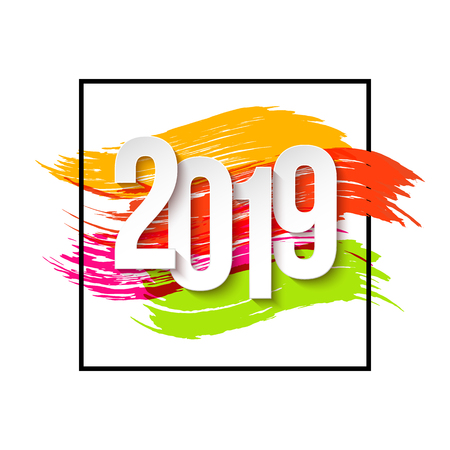 2019 Happy New Year Background for Flyers or Greeting Card Design. Numbers Papers Style