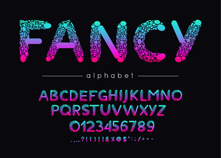 Fancy vector font and alphabet. Type with colorful letters, numerals and symbols. Illustration