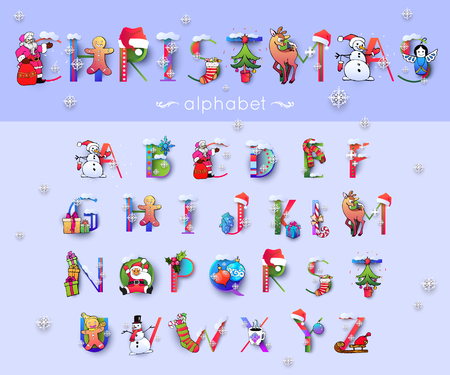 Vector Christmas font and alphabet