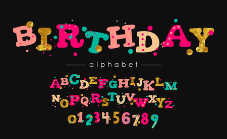 Birthday vector font and alphabet. Type with colorful letters and numerals.