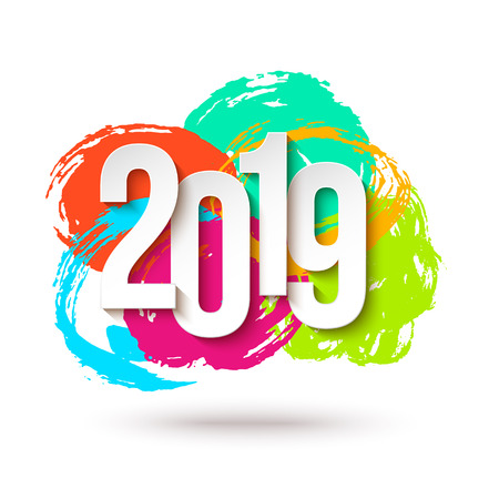 2019 Happy New Year Background for Flyers or Greeting Card Design. Numbers Papers Style. Round Brush Stroke Illustration