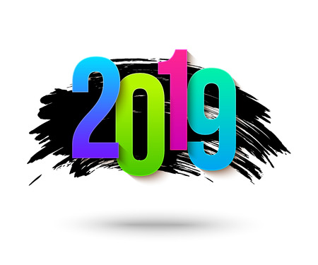 Colorful 2019 numbers background for happy new year banner with black brush stroke.