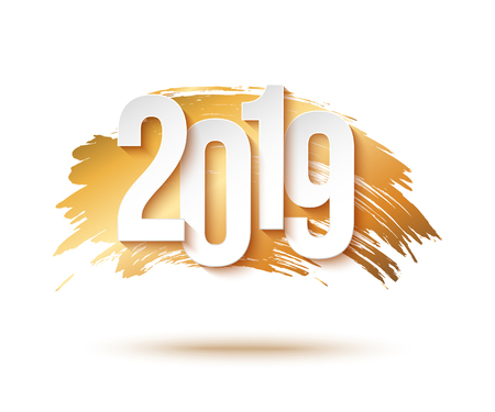 2019 Happy New Year Background for Flyers or Greeting Card Design. Gold brush stroke
