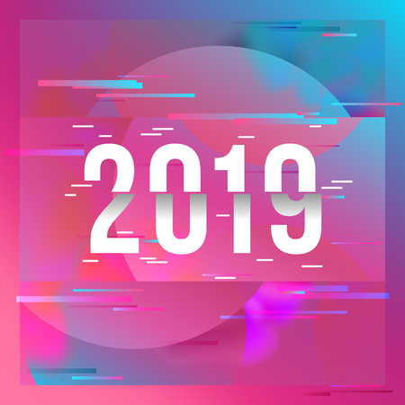 Happy New Year 2019 Text Design. Glitched background Çizim