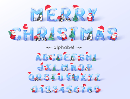 Vector Christmas font and alphabet. 3d ice letters decorated with new year symbols Santa Claus, tree, hats