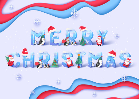Merry Christmas and Happy New Year banner. Cheerful Santa Claus and penguin vector illustration.