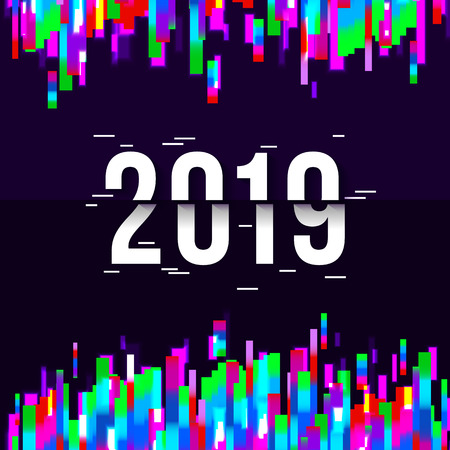 Happy New Year 2019 Text Design. Glitched background.