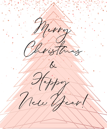 Vector Merry Christmas and Happy New Year greeting card design Illustration
