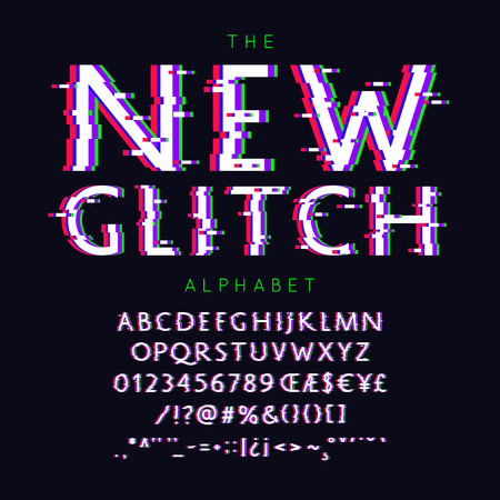 New Glitch  font and alphabet with numbers, signs and symbols