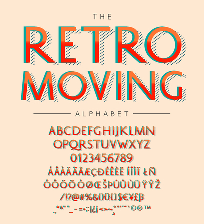 Retro Moving vector font and alphabet with numbers, signs and symbols