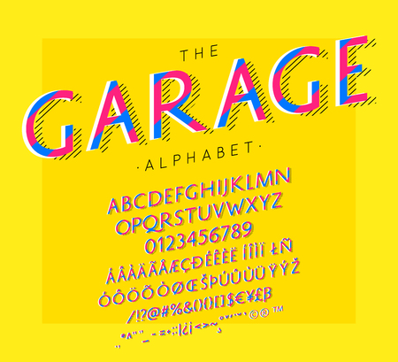 Garage vector font and alphabet with numbers, signs and symbols
