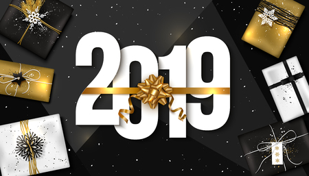 2019 Happy New Year background. Vector illustration.