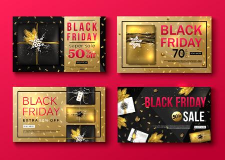 set of vector black friday sale banner layout design Illustration