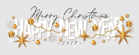 Vector Christmas Greeting Card. Happy New Year grey background with gold foil stars, balls and snowflakes.