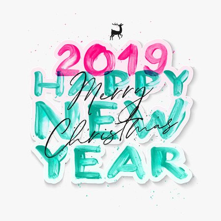 Colorful watercolor 2019 Happy New Year brush lettering text. Merry Christmas calligraphy inscription vector illustration. Ilustração