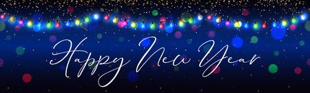Happy New Year celebration garland background. Vector illuatration