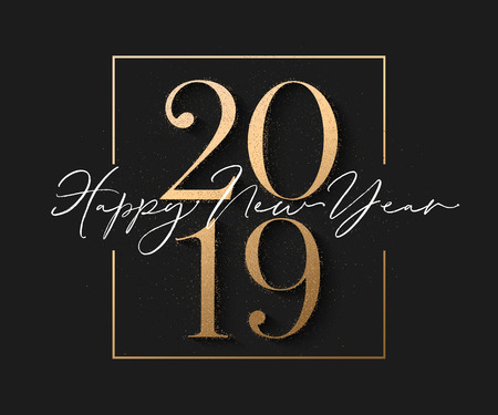 Happy new year design black background with 2019 gold text and sparkle particles. Vector illuatration Ilustração