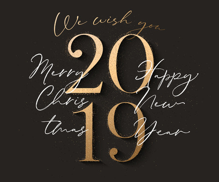 Happy new year design black background with 2019 gold text and sparkle particles. Vector illuatration Illustration