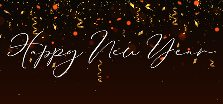Happy New Year Background with gold streamer and confetti. Vector illustration Illustration