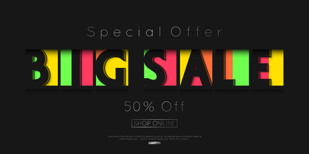 vector sale banner template design. paper cut style. discount and special offers online shopping