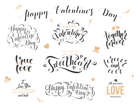 Valentine day hand drawn calligraphy. Love lettering for greeting card, poster, banner. Romantic quotes vector illustration Illustration
