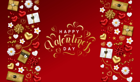 Happy Valentines day background with lettering inscription decorated gift box serpentine gold hearts stars and flowers for greeting card poster. Vector illustration. Illustration