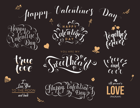 Valentine day hand drawn calligraphy. Quotes vector illustration