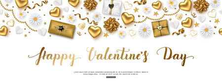 Valentines day composition with top view hearts, gift box, serpentine, stars and flowers for greeting card, poster, banner. Vector illustration.