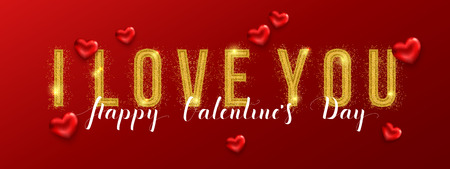 I love you. Valentines day greeting card with gold text. Vector illustration.