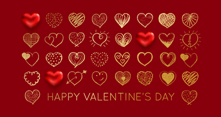 Valentines day background with gold heart. Vector illustration Illustration
