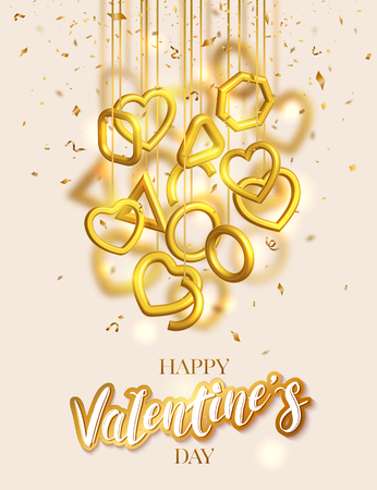 Valentines Day greeting card design with hanging 3d gold hearts and confetti. Love vector illustration Illustration