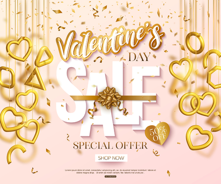 Valentines Day sale banner design with hanging 3d gold hearts and confetti. Lettering cut paper style. Love vector illustration