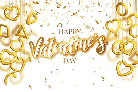 Valentines Day greeting card design with hanging 3d gold hearts and confetti. Lettering cut paper style. Love vector illustration