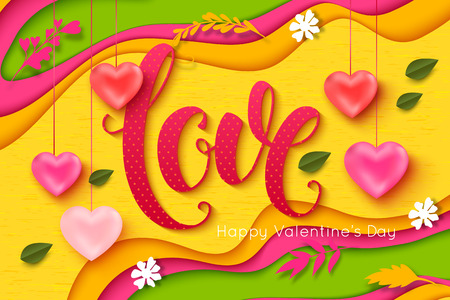 Valentines Day vector background. Love lettering inscription. ?ut paper style