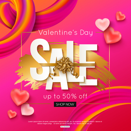 Valentines Day sale banner layout. Vector illustration