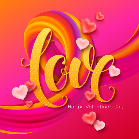 Valentines Day banner layout. Love calligraphic inscription with pink balloons shape of heart and 3d curl. Vector illustration