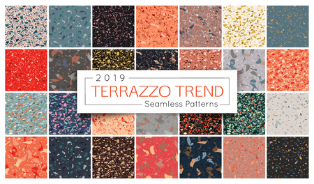Terrazzo seamless pattern collection. Set of Italian marble surface vector illustration