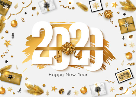2020 Happy New Year background. Vector illustration