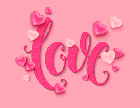 Valentines Day background. Love calligraphic inscription decorated pink balloons in the shape of heart for online shopping banner poster. Vector illustration Illustration
