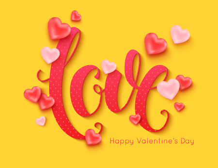 Valentines Day banner layout. Love calligraphic inscription decorated pink balloons shape of heart for online shopping banner poster. Vector illustration Illustration