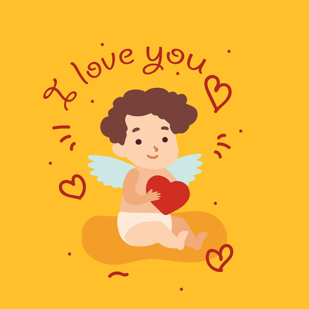 Happy Valentine Day card with cupid angel. Vector illustration