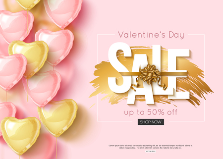 Valentines day sale design with pink and gold heart shape balloons. Vector shopping discount Illustration
