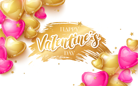 Happy Saint Valentines day greeting card with 3d pink and gold balloon hearts. Vector illustration